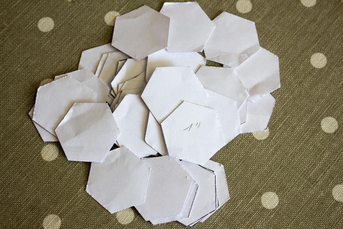 méthode anglaise : hexagones découpés - Tutoriel parfumdecouture.com