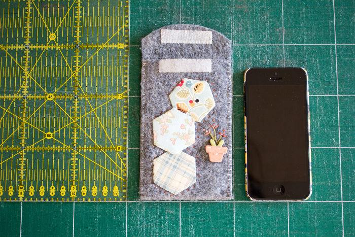 housse de telephone portable : les mesures pour le patron