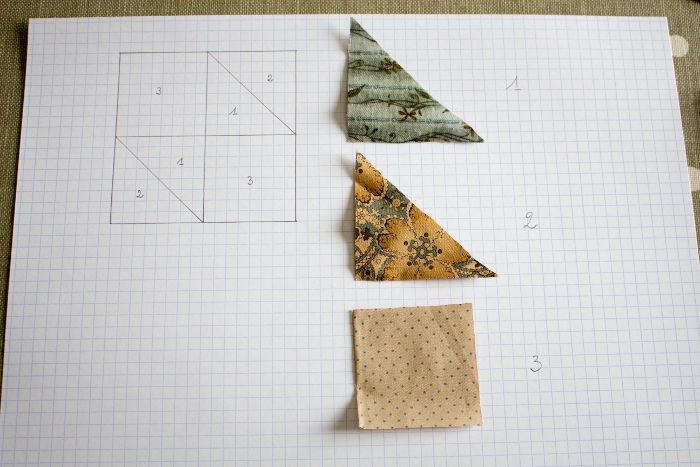 découpe des morceaux de tissus pour le bloc de patchwork