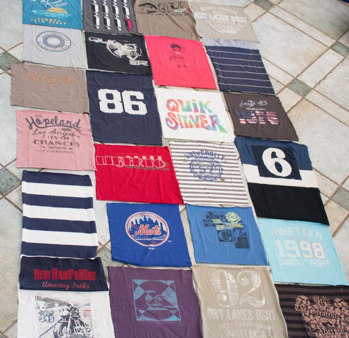 Agencement des morceaux du teeshirt quilt - diy tee shirt quilt parfumdecouture.com