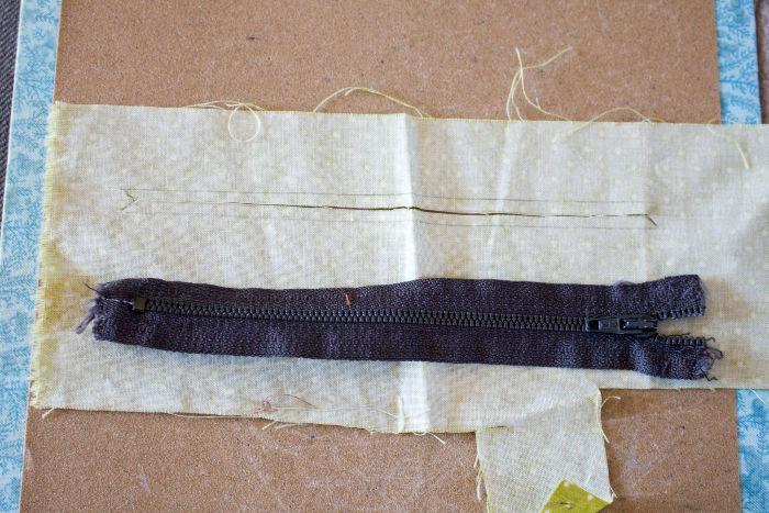 Traçage de la zone de la fermeture éclair - Scrap quilt housse d'ipad parfumdecouture.com