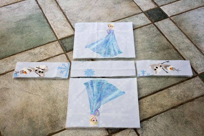 Positionnez les morceaux à coudre - Sac reine des neiges disney parfumdecouture.com