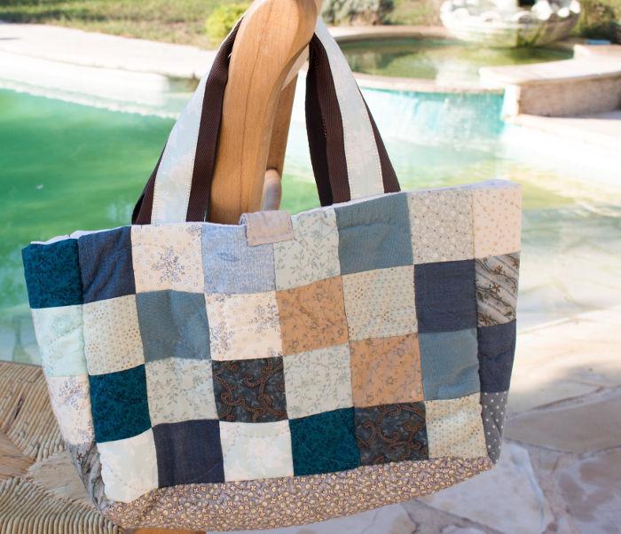 DIY Sac motif petits carrés patchwork parfumdecouture.com