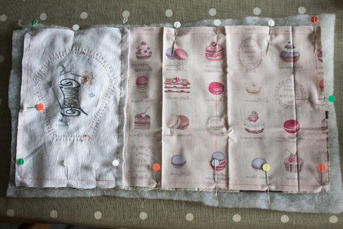 Assemblage des 3 épaisseurs de la trousse de couture- DIY trousse de couture parfumdecouture.com