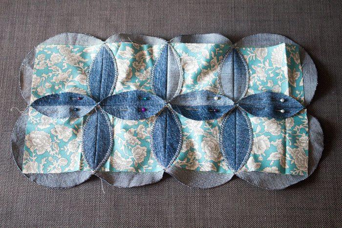 Préparation couture des arcs de cercles - mug rug pliage japonais parfumdecouture.com