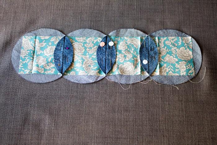 Préparation à la couture des côtés en arc de cercle - mug rug pliage japonais parfumdecouture.com