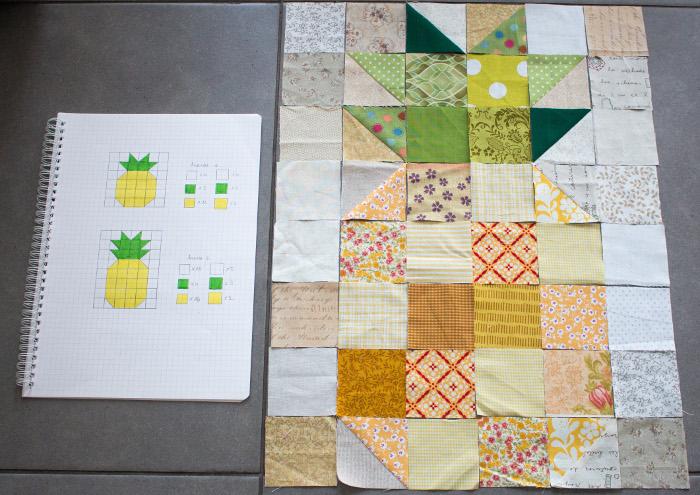 Assemblage des HST - tuto du bloc ananas parfumdecouture.com